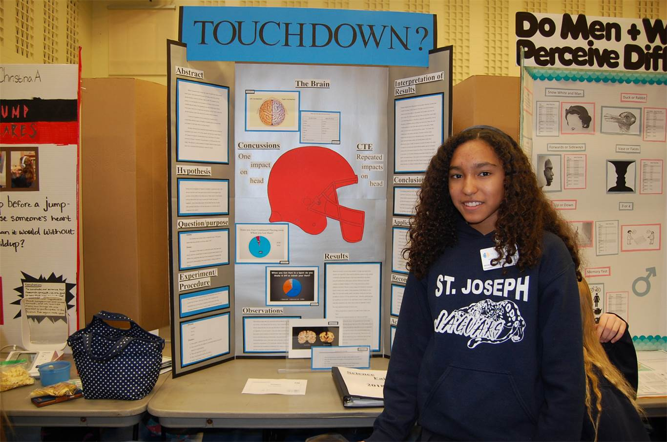 Nichole Fajardo-Orozco was inspired to do her science project on Concussions and CTE after witnessing a football player get knocked unconscious at a University of Notre Dame football game in November. The Grade 8 St. Joseph student advises individuals to always seek help after a head injury to prevent CTE, a neurodegenerative disease from which there is no recovery.